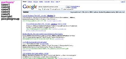 Billede af wibroe duckert & partners website der bruger Google